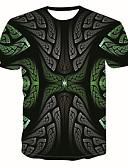 levne Pánská tílka-Pánské - 3D Větší velikosti Tričko, Tisk Kulatý Trávová zelená XXL