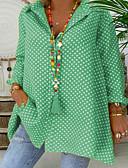 hesapli Gömlek-Kadın's Gömlek Yaka Salaş - Gömlek Yuvarlak Noktalı Büyük Bedenler YAKUT / Yuvarlak Desenli