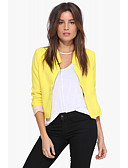 cheap Women's Belt-Women's Daily / Work Basic Spring &  Fall Regular Jacket, Solid Colored Shirt Collar Long Sleeve Polyester Patchwork White / Black / Yellow M / L / XL