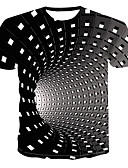 cheap Men's Tees & Tank Tops-Men's Street chic / Punk & Gothic Plus Size T-shirt - Floral / Color Block / 3D Print Round Neck Black XXXXL