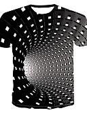 billige Herreskjorter-Rund hals Herre - Geometrisk / 3D Trykt mønster Gade / Punk & gotisk Plusstørrelser T-shirt Sort / Kortærmet