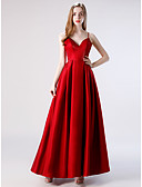 cheap Evening Dresses-A-Line V Neck Floor Length Taffeta Formal Evening Dress with by LAN TING Express
