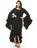 billige Kjoler i plusstørrelser-Dame Sofistikert Elegant Havfrue Kjole - Ensfarget, Drapering Asymmetrisk