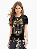 billige T-shirt-Dame - 3D / Dyr / Tegneserie Trykt mønster Gade / overdrevet T-shirt Sort