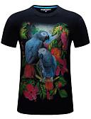 preiswerte Herren T-Shirts & Tank Tops-Herrn 3D / Tier Übergrössen T-shirt, Rundhalsausschnitt Druck Schwarz XXXXL
