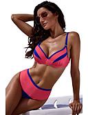cheap Bikinis-Women's Basic Red Yellow Bandeau High Waist Bikini Swimwear - Color Block L XL XXL Red
