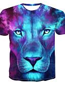 お買い得  メンズフーディー&スウェットシャツ-男性用 プリント Tシャツ ラウンドネック 3D / 動物 ライトブルー XXXXL