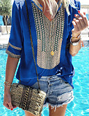 billige Skjorter til damer-Bomull Løstsittende V-hals Skjorte Dame - Stribe Grunnleggende Rød