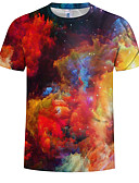 billige T-shirts og undertrøjer til herrer-Rund hals Herre - Farveblok / 3D / Batikfarvet Trykt mønster EU / US størrelse T-shirt Regnbue XXXXL