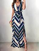זול שמלות מקסי-V עמוק מקסי פסים - שמלה גזרת A אלגנטית בגדי ריקוד נשים