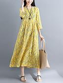 hesapli Kadın Elbiseleri-Kadın's Çin Stili A Şekilli Elbise - Çiçekli, Desen Diz-boyu