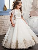 זול שמלות לילדות פרחים-נשף עד הריצפה שמלה לנערת הפרחים  - כותנה / תחרה / טול שרוולים קצרים עם תכשיטים עם חרוזים / ריקמה / תחרה על ידי LAN TING Express