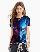 hesapli Tişört-Kadın's Tişört Desen, Zıt Renkli / 3D / Hayvan Sokak Şıklığı / Abartılı Havuz