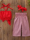 povoljno Kompletići za djevojčice-Djeca Dijete koje je tek prohodalo Djevojčice Aktivan Osnovni Jednobojni Prugasti uzorak Vezanje straga Print Bez rukávů Kratka Pamuk Spandex Komplet odjeće Red