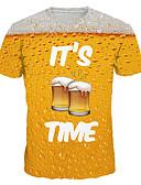 זול חולצות לגברים-3D / גראפי / אותיות טישרט - בגדי ריקוד גברים דפוס צהוב