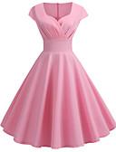 halpa Vintage-kuningatar-Naisten Vintage 1950-luku Swing Mekko - Yhtenäinen V kaula-aukko Polvipituinen / Bile