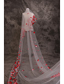 """זול שמלות שושבינה-שכבה אחת זוהר ודרמטי / אהבה הינומות חתונה צעיפי קתדרלה עם עלי כותרת / סגנון מוטיב פרחוני מפוזר ביד 181.1 אינץ' (460 ס""""מ) תחרה / טול"""