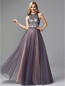 cheap Evening Dresses-A-Line Jewel Neck Floor Length Tulle Keyhole Prom / Formal Evening Dress with Beading by TS Couture®