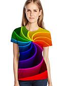 billige T-shirt-Dame - Geometrisk / 3D / Grafisk Trykt mønster Gade / overdrevet Plusstørrelser T-shirt Rød