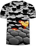 זול חולצות לגברים-גיאומטרי / 3D / גראפי טישרט - בגדי ריקוד גברים דפוס שחור