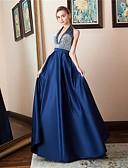 tanie Suknie weselne-Krój A Halter Sięgająca podłoża Satyna Kolacja oficjalna Sukienka z Dodatki kryształowe przez LAN TING Express