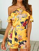 abordables Monos y Rómpers para Mujer-Mujer Negro Amarillo Mono, Floral Volante / Acordonado / Estampado M L XL