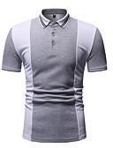 hesapli Erkek Gömlekleri-Erkek Pamuklu Gömlek Yaka Polo Kırk Yama, Zıt Renkli AB / ABD Beden Siyah