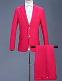 billige Herreblazere og jakkesæt-Herre Jakkesæt Hakrevers Polyester Rosa L / XL / XXL