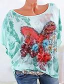hesapli Tişört-Kadın's Pamuklu Tişört Boncuklar / Kırk Yama / Desen, Grafik / Harf Yonca