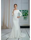 povoljno Vjenčanice-Sirena kroj Bateau Neck Srednji šlep Krep Izrađene su mjere za vjenčanja s Perlica / Aplikacije po ANGELAG