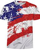 cheap Men's Tees & Tank Tops-Men's EU / US Size T-shirt - Color Block / 3D / Graphic Print Round Neck White XXXXL