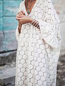 hesapli Romantik Dantel-Kadın's Büyük Bedenler Temel Salaş Kombinezon Elbise - Solid, Şalter V Yaka Midi