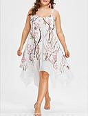 halpa Pluskokoiset mekot-Naisten Tyylikäs Sifonki Swing Mekko - Geometrinen, Patchwork Painettu Epäsymmetrinen