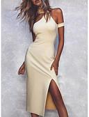 hesapli NYE Elbiseleri-Kadın's Temel Bandaj Kılıf Elbise - Solid, Bölünmüş Diz-boyu