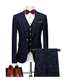 hesapli Takım Elbiseler-Koyu Bahriye Desenli Kişiye Özel Kalıp Polyester Takım elbise - Çentik Tek Sıra Düğmeli Bir Düğme