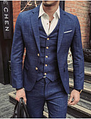 זול ז'קטים-נייבי כהה מְשׁוּבָּץ גזרה צרה כותנה חליפה - פתוח Single Breasted Two-button
