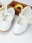 זול סטים של ביגוד לתינוקות-בנות נוחות / נעליים לילדת הפרחים PU שטוחות פעוט (9m-4ys) / ילדים קטנים (4-7) תחרה תפורה לבן / ורוד אביב / סתיו / מסיבה וערב / גומי