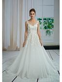 baratos Vestidos de Casamento-Linha A Bateau Neck Cauda Capela Renda / Tule Vestidos de casamento feitos à medida com Miçangas / Apliques / Renda de ANGELAG