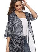 Χαμηλού Κόστους T-shirt-Γυναικεία Καθημερινά Μακρύ Καμπαρντίνα, Λεοπάρ Λαιμόκοψη V 3/4 Μήκος Μανικιού Πολυεστέρας Καφέ / Γκρίζο M / L / XL