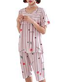 hesapli Pijamalar-Yuvarlak Yaka Takımlar Pijamalar Harf Kadın's