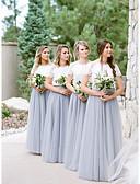 זול שמלות שושבינה-גזרת A עם תכשיטים עד הריצפה תחרה / טול שמלה לשושבינה  עם תחרה על ידי JUDY&JULIA
