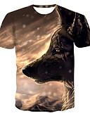 billige T-shirts og undertrøjer til herrer-Herre - 3D / Dyr Trykt mønster Basale / Gade T-shirt Brun L