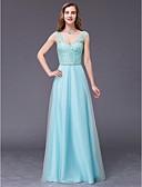 זול שמלות שושבינה-גזרת A צווארון V עד הריצפה טול ערב רישמי שמלה עם חרוזים על ידי TS Couture®