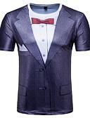 זול תחתוני גברים אקזוטיים-3D / משובץ צווארון עגול בסיסי / סגנון רחוב טישרט - בגדי ריקוד גברים דפוס שחור / שרוולים קצרים