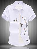 hesapli Erkek Gömlekleri-Erkek Pamuklu Klasik Yaka Gömlek Hayvan Çin Stili Büyük Bedenler Beyaz / Kısa Kollu