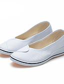 זול שעונים-בגדי ריקוד נשים נעליים ללא שרוכים עקב טריז בוהן עגולה קנבס יום יומי קיץ לבן / שחור