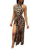 billige Jumpsuits og sparkebukser til damer-Dame Bohem / Gatemote Gul Kjeledresser, Leopard Delt L XL XXL