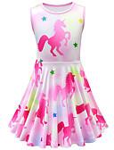 halpa Bikinis-Lapset Taapero Tyttöjen Aktiivinen Katutyyli Unicorn Piirretty Hihaton Reisipituinen Mekko Fuksia