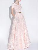 hesapli Gece Elbiseleri-A-Şekilli Kayık Yaka Yere Kadar Dantelalar Kurdeleler ile Resmi Akşam / Tatil Elbise tarafından LAN TING Express / Pullu ve Işıltılı