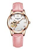 זול שעונים-בגדי ריקוד נשים שעון מכני אוטומטי נמתח לבד עור אמיתי זוהר בחושך אנלוגי מינימליסטי - לבן אדום ורוד